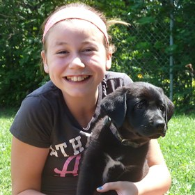 Camp 2014 Madeline Turgeon and puppy - Kids & Teens