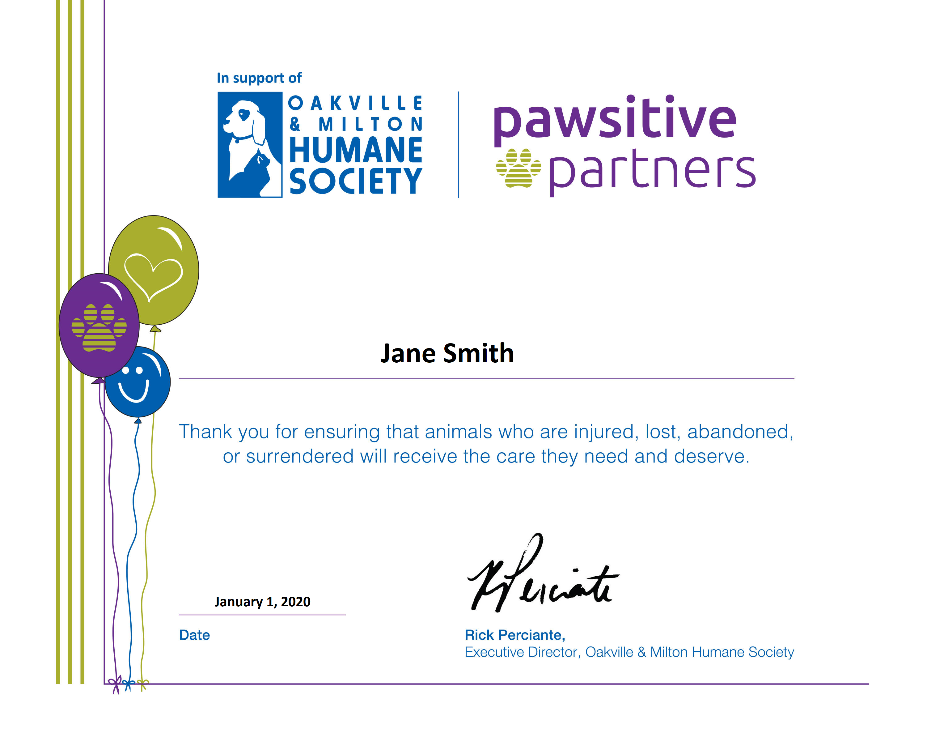 Birthday certificate with name 1 - Pawsitive Partner Birthday Celebrations
