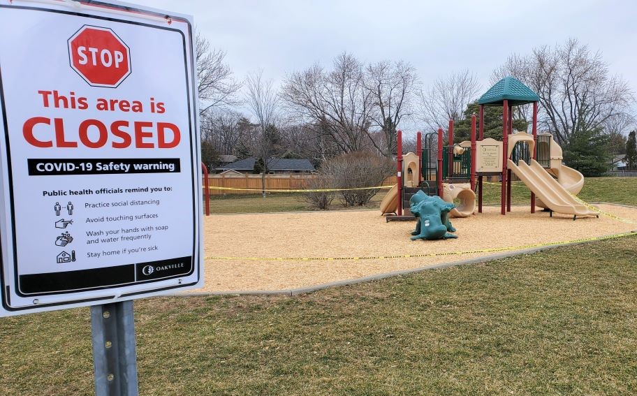 Oakville parks, courts, dog parks are now closed